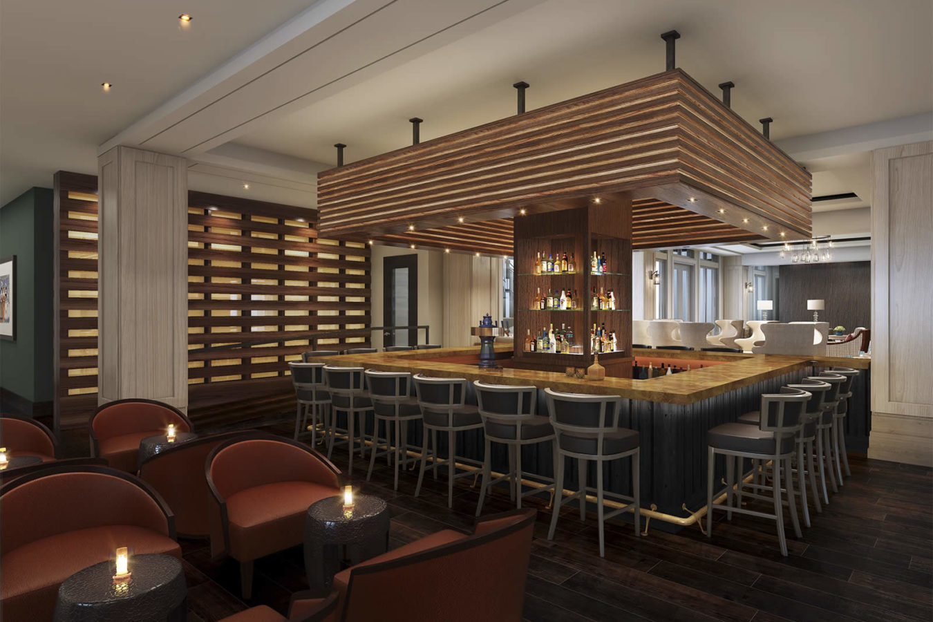 Rendering of the bar at the Harpeth Hotel