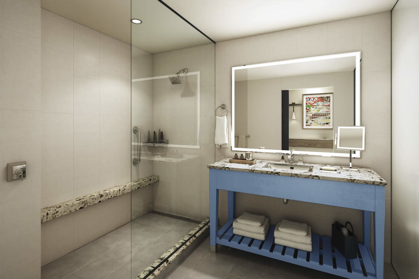 Rendering of a bathroom at the Harpeth Hotel