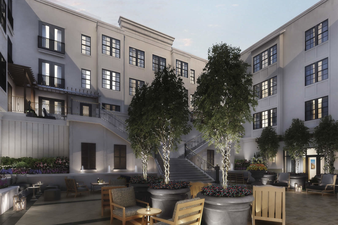 Rendering of the courtyard at the Harpeth Hotel