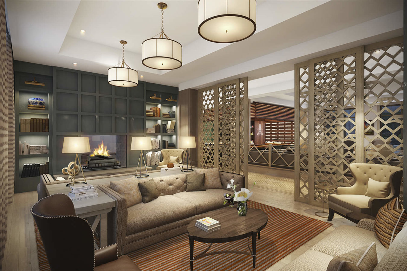 Rendering of the library at the Harpeth Hotel