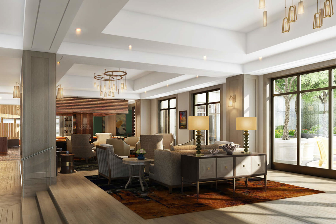Rendering of the lobby at the Harpeth Hotel