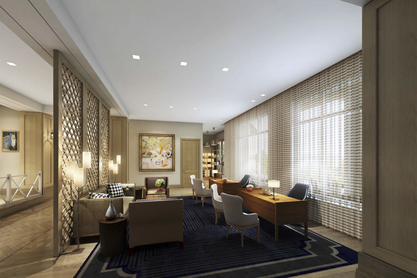 Rendering of the reception area at the Harpeth Hotel