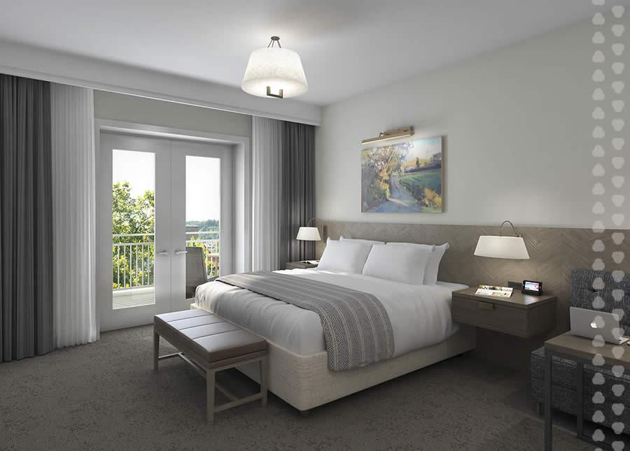 rendering of Harpeth Hotel guest room.