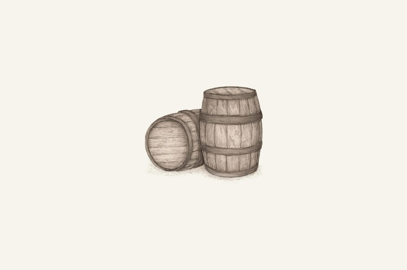 illustration of whiskey barrels.