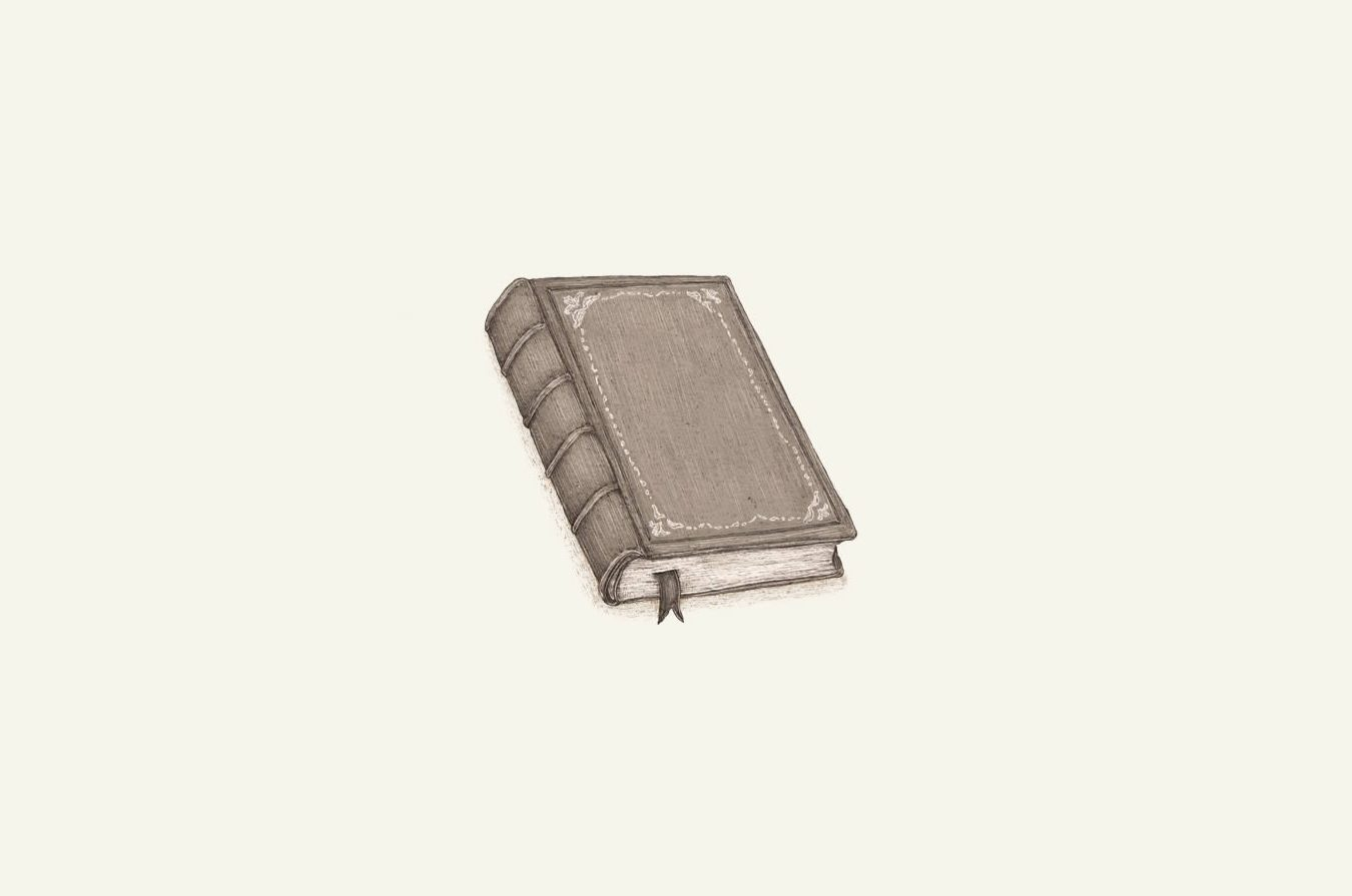 illustration of an old hardcover book.
