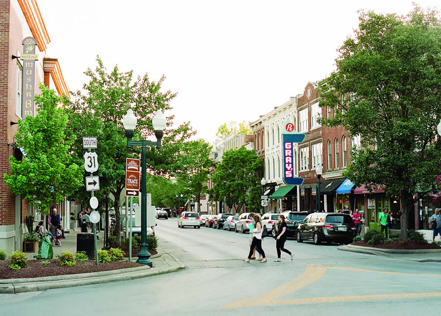 people crossing the street in downtown Franklin, Tennessee