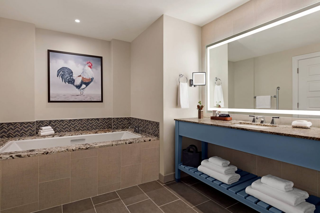 Bathroom with tub in Presidential Suite