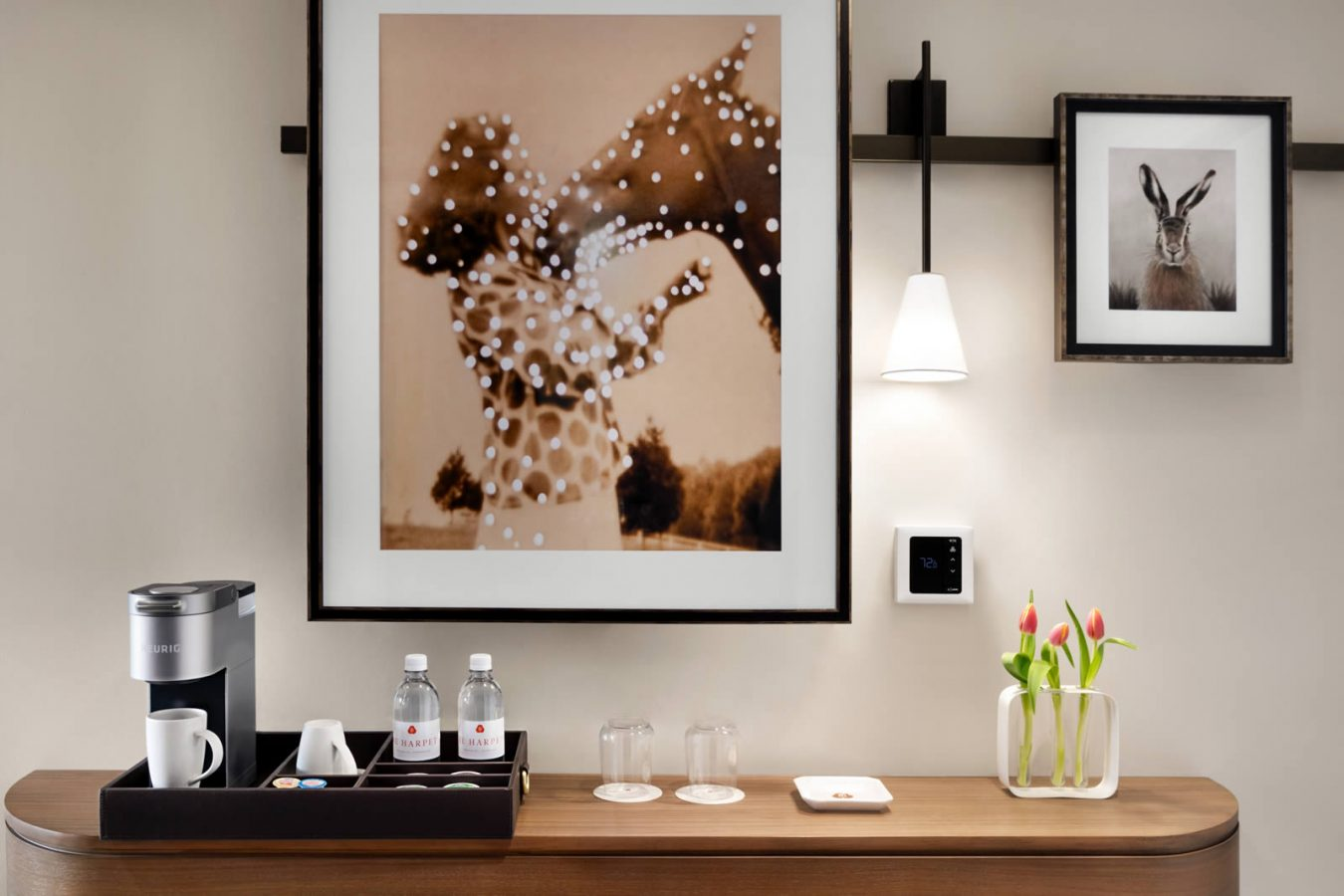 Counter of room with coffee and flowers